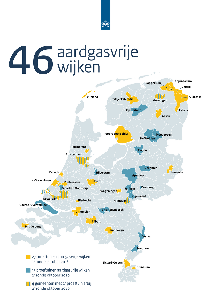 Map with neighbourhoods that are not depending on natural gas