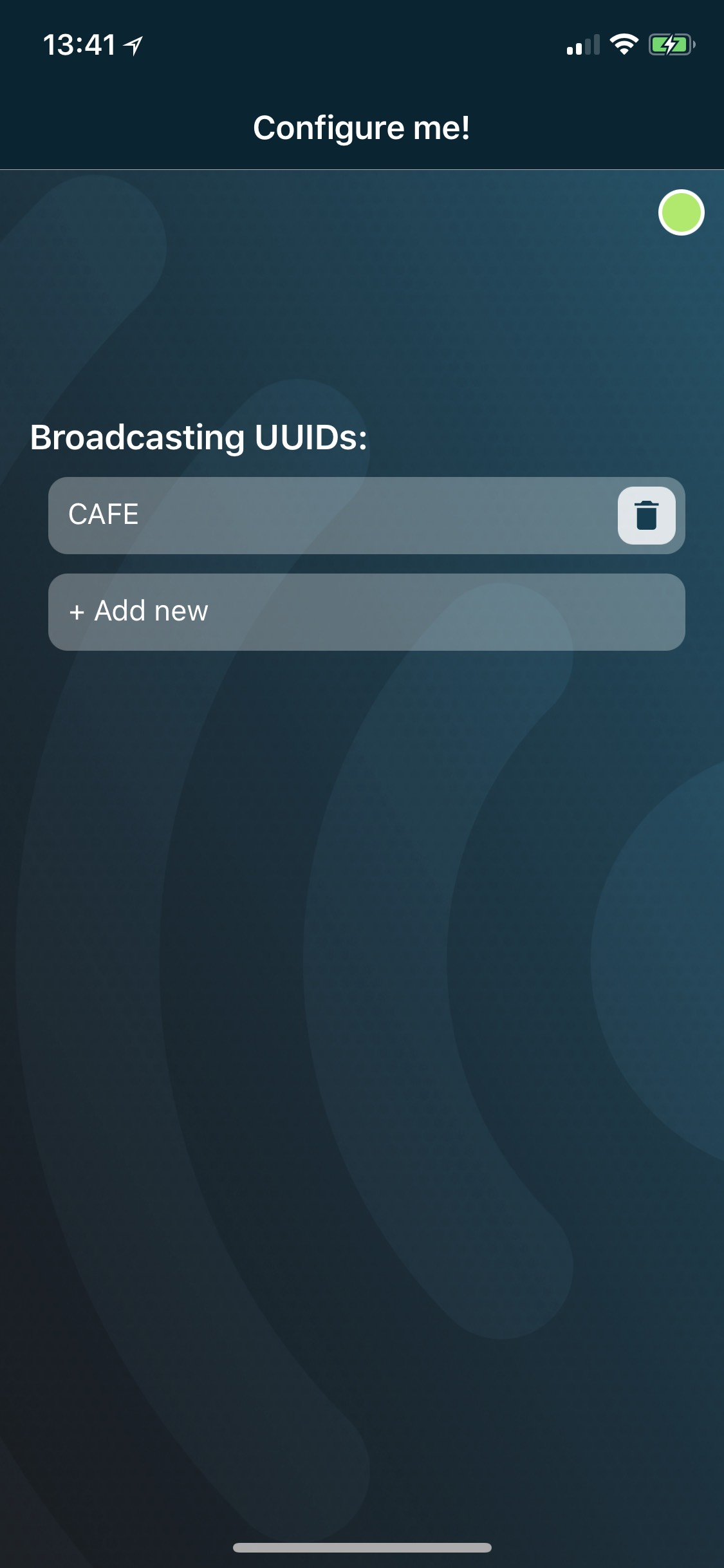 UUID broadcast screenshot